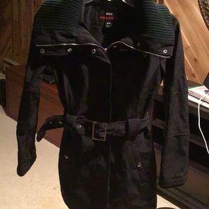 Jacket fleece lined with generous collar and hood